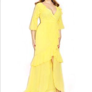 Boohoo Dresses - Boohoo Yellow Ruffle Maxi Dress